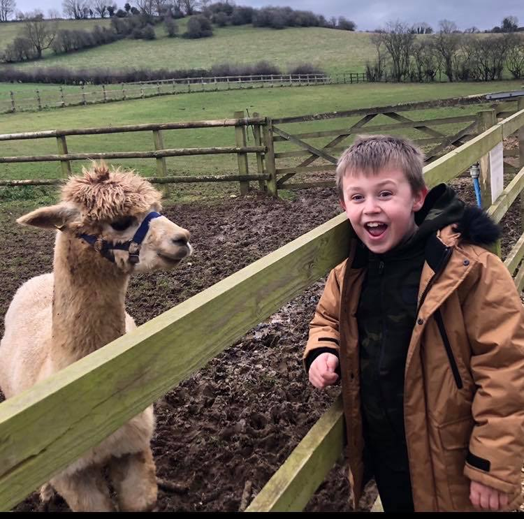 Charlie Hiner meets his alpaca namesake.