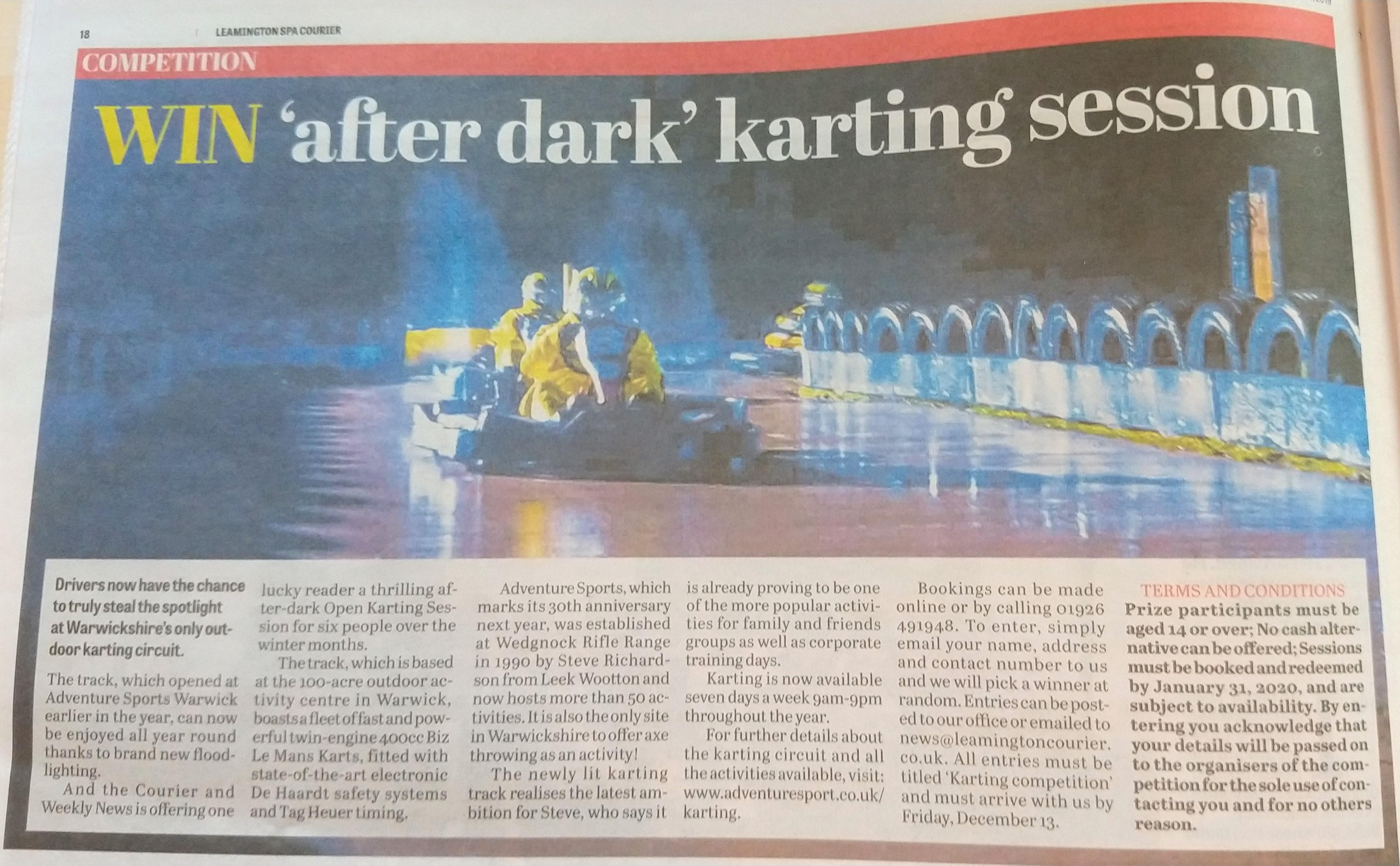 Courier after dark karting comp Dec 2019