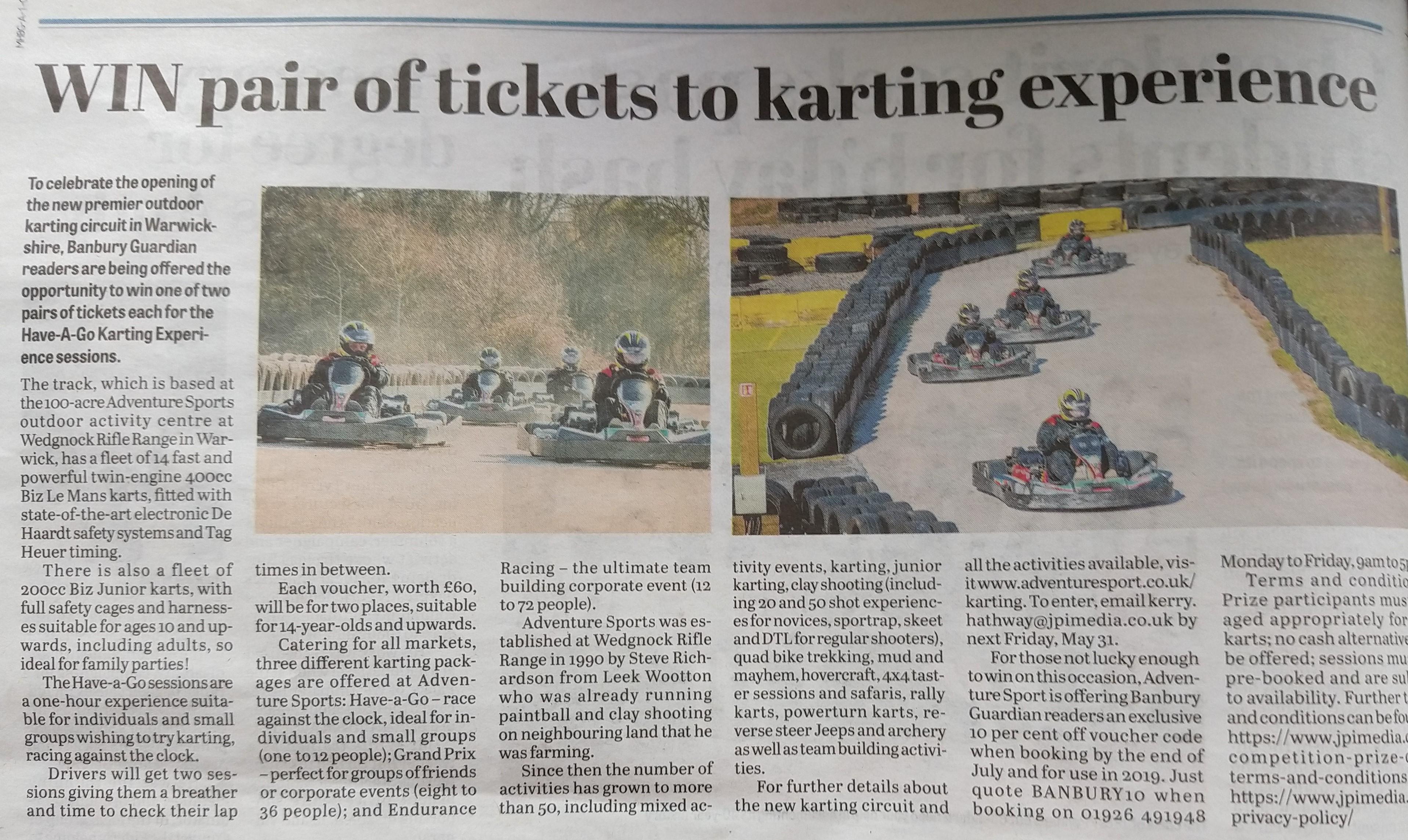 Karting comp Banbury Guardian inside