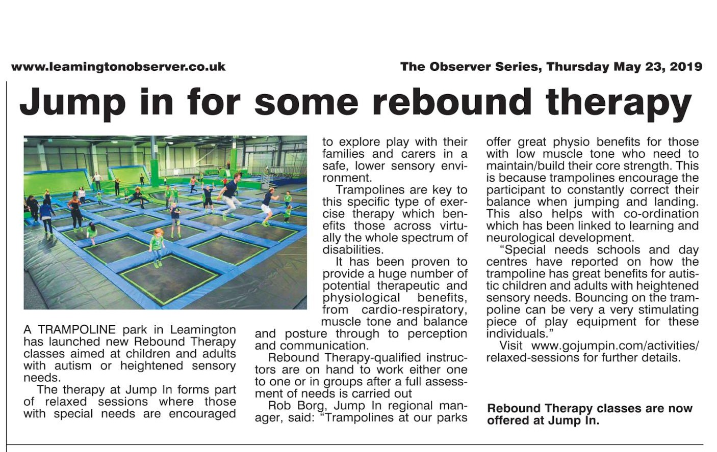 Rebound Therapy Leamngton Observer CROPPED