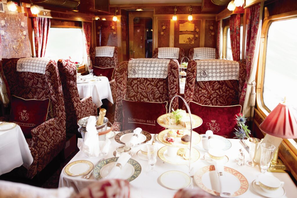 Northern Belle, steam train, afternoon tea