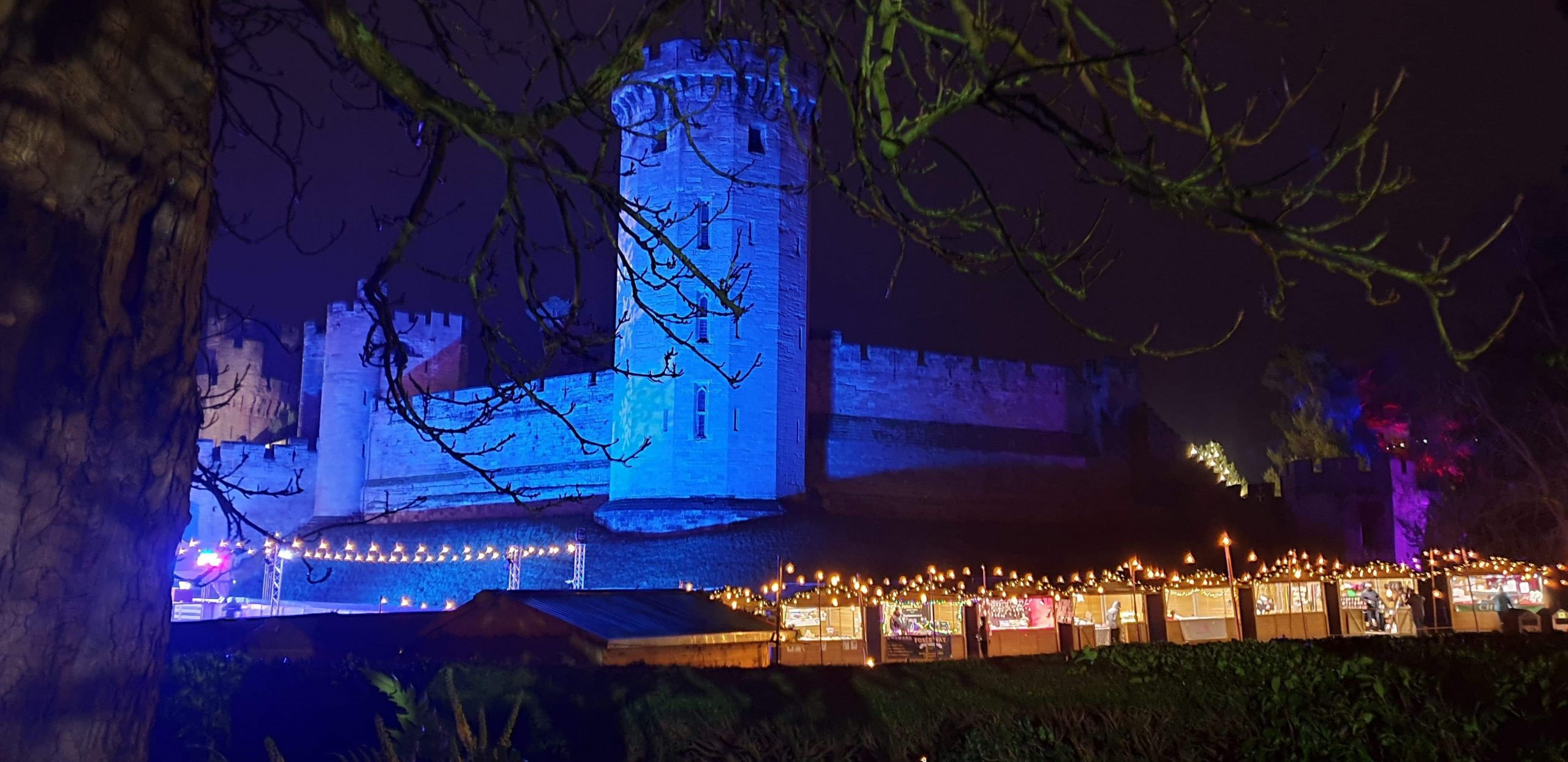 Warwick Castle, Christmas, lights trail
